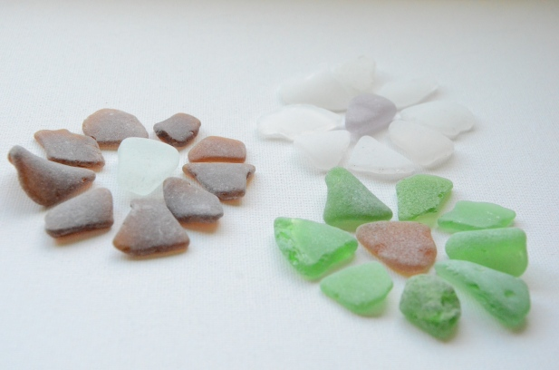 Sea glass flowers