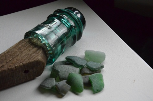 Greens can originate from old insulators, wine and pop bottles.