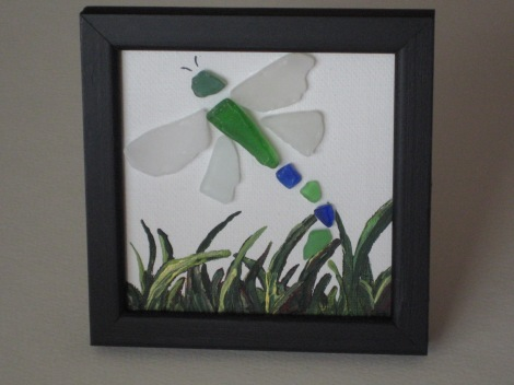 Framed Sea glass dragonfly on canvas