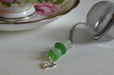 Tea ball with Sea Glass charm